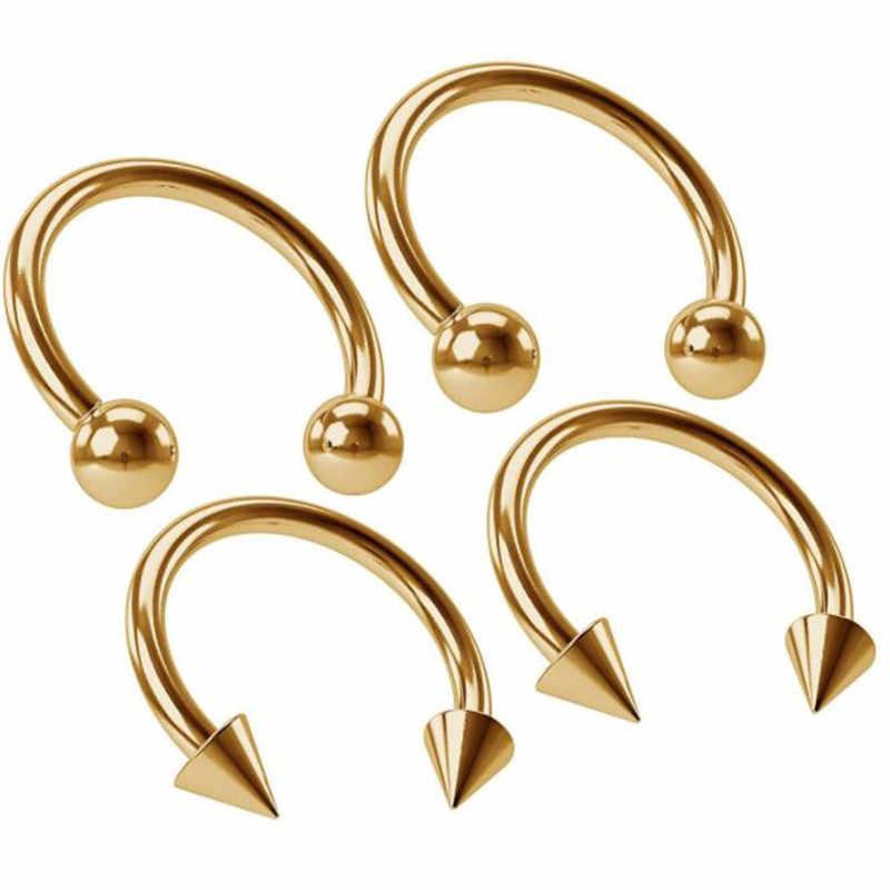 Venta al por mayor Piercing Nariz 2 uds titanio acero anodizado herradura cartílago de Nariz pendientes Tragus Labret anillo cuerpo joyería