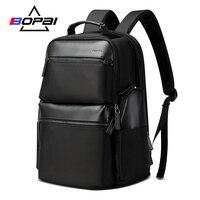 BOPAI Luxury Gift Men Backpack Waterproof USB Bagpack Black Cow Leather Laptop Backpack 15.6 inch Weekend Travel Back Pack Men