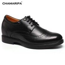CHAMARIPA Increase Height 8cm/3.15 inch Elevator Shoe Men Brogue Oxfords High Heel Shoes Gentlemen Make Men Look Taller
