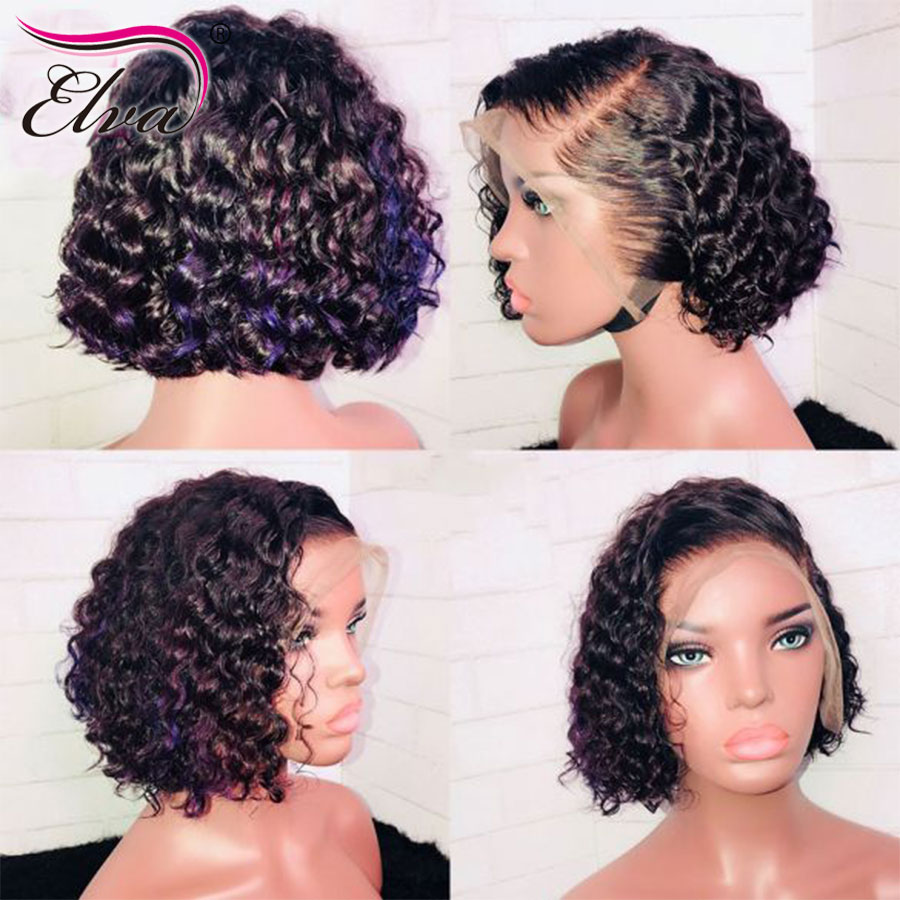 Curly Short Human Hair Bob Wigs For Black Women Brazilian Full Lace Human Hair Wigs With Baby Hair Pre Plucked Elva Remy Hair(China)