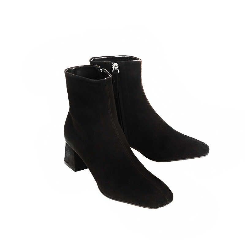 Echtes leder zipper karree high heels frauen stiefeletten nachtclub mode stiefel party urlaub elegante winter schuhe L66