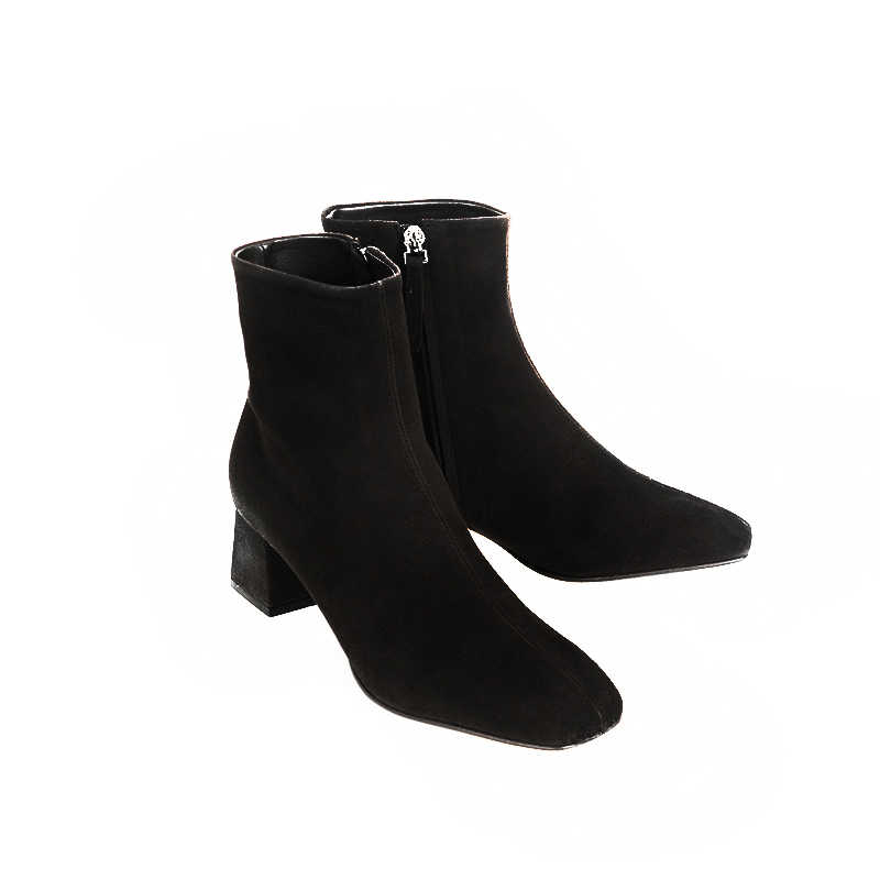 Hakiki deri fermuar kare ayak yüksek topuklu kadın yarım çizmeler gece kulübü moda çizmeler parti tatil zarif kış ayakkabı L66