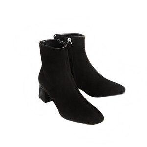 Image 4 - In vera pelle con cerniera punta quadrata tacchi alti stivali della caviglia delle donne del locale notturno di modo stivali partito vacanza elegante inverno scarpe L66