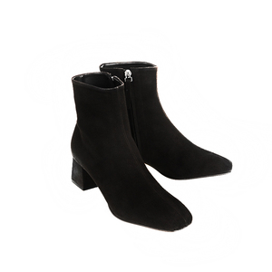 Image 4 - genuine leather zipper square toe high heels women ankle boots nightclub fashion boots party vacation elegant winter shoes L66