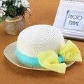 Розничная 2015 Мода Прекрасный Ребенок Вс Шляпы Девочки Летом Cap детская Соломенная Шляпа Дети Большой Лук Шляпа Бесплатная Доставка Wholesal