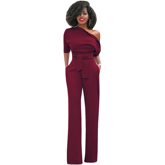 999d4c380738 Casual Long Rompers Womens Jumpsuit 2019 Sexy Off Shoulder Short Sleeve Lady  Party Elegant Jumpsuit Wide