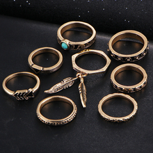 Punk Style Leaf Ring Set New Retro Antique Gold Color Lucky Arrow