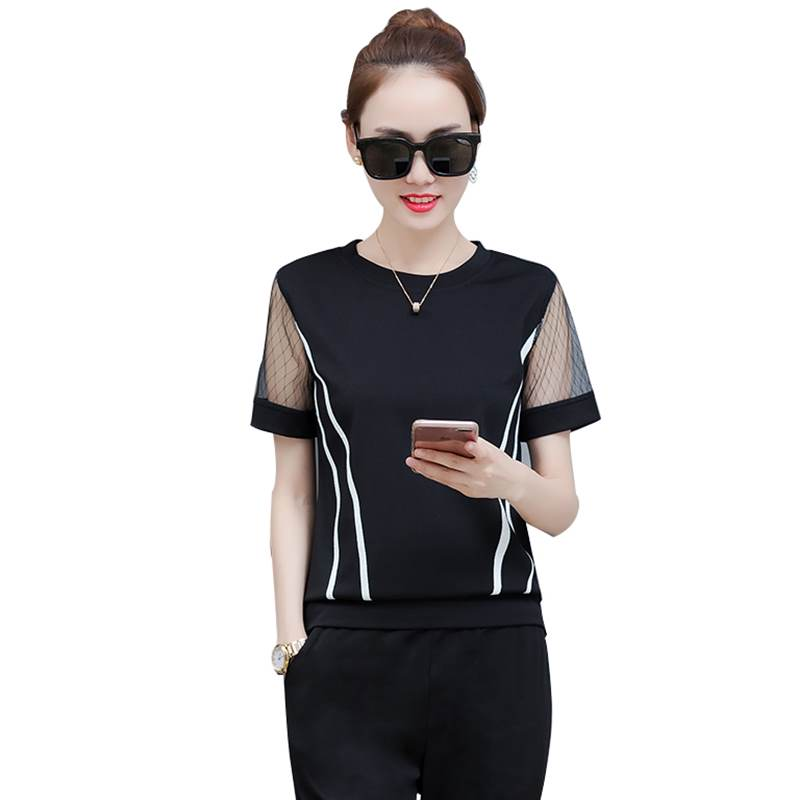 Rlyaeiz 2019 Summer New Fashion Striped 2 Piece Set Women Tracksuit Lace Mesh Sleeve T-shirts + Calf-length Pants Sporting Wear