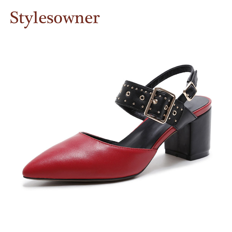 Stylesowner Elegant Women Chunky Heel Sandal Shoe Rivets Buckle Shallow Mouth Stunning Femme Shoe 2018 Spring Summer New Shoe stylesowner elegant lady pumps sandal shoe sheepskin leather diamond buckle ankle strap summer women sandal shoe
