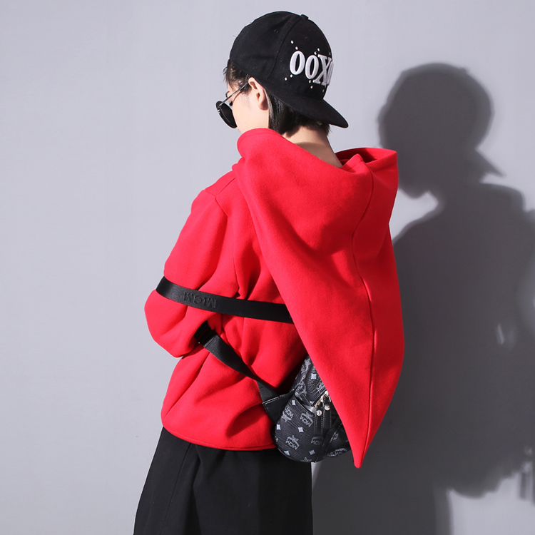 2016 Spring Cool Streetwear Women Personality Lovely Pullovers Super Big Hat Design Girl Hoodies Full Sleeve Red black Colors