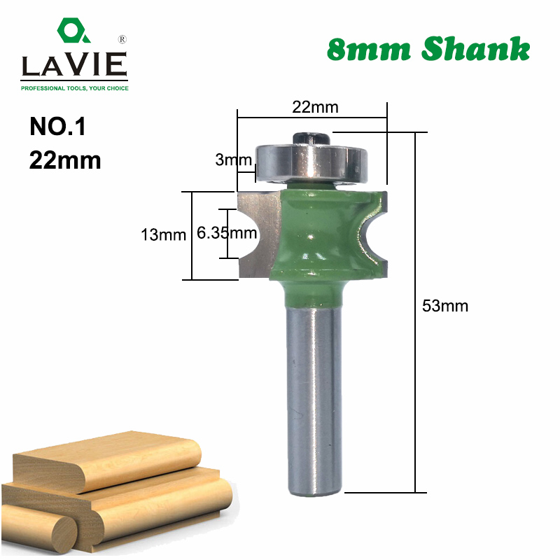 LA VIE 1 PC 8mm Shank Bullnose Half Round Bit Endmill Router Bits Wood 2 Flute Bearing Woodworking Tool Milling Cutter MC02047