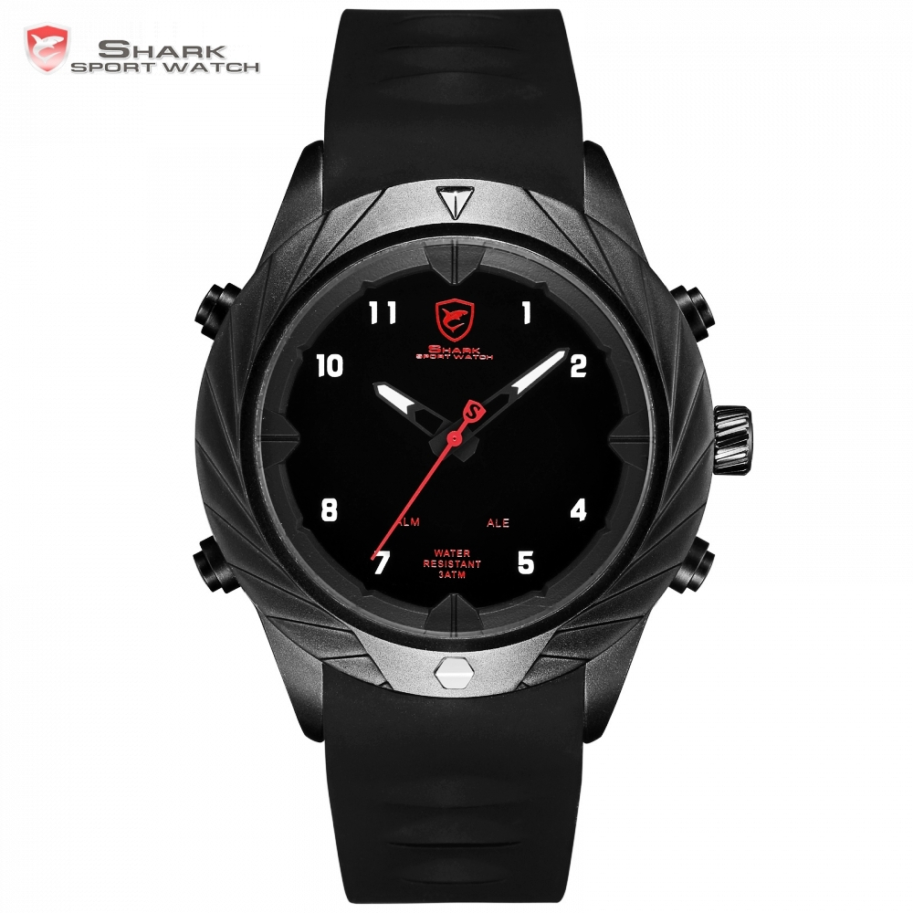 Graceful Shark Sport Watch Creative Design Black LED Analog Quartz Auto Date Day Silicon Strap Mens