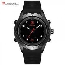 رشيقة القرش الرياضة ساعة التصميم الإبداعي الأسود LED التناظرية الكوارتز السيارات تاريخ اليوم سيليكون حزام رجالي معصم رقمية الساعات/SH577
