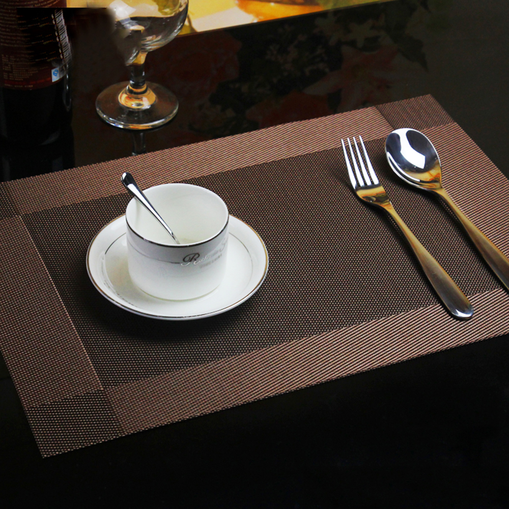4pcs/set PVC Bamboo Plastic Placemats for Dining Table Runner Linens place mat in Kitchen Accessories Cup Wine mat