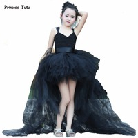Train Tail Girls Black Tutu Dress Baby Bridesmaid Flower Girl Wedding Dress Tulle Ball Gown Kids