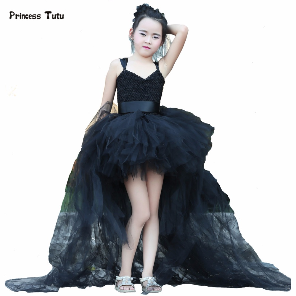 Train Tail Girls Black Tutu Dress Baby Bridesmaid Flower Girl Wedding Dress Tulle Ball Gown Kids Halloween Evening Party Dresses  new hot sequins baby girls dress party gown tulle tutu bow heart shape dresses bridesmaid evening cute children dress