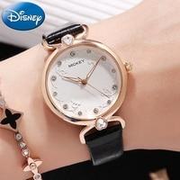 Disney Watch Genuine Brand Women Fashion Noble Fine Rhinestone Stone Girl Love Luminous Quartz Leather watches Mickey 11105 Gift