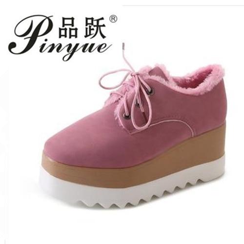 2018 Casual Solid Flat Women boots Patent Flat Platforms British Style Ladies Oxfords Add velvet high heel rabbit hair