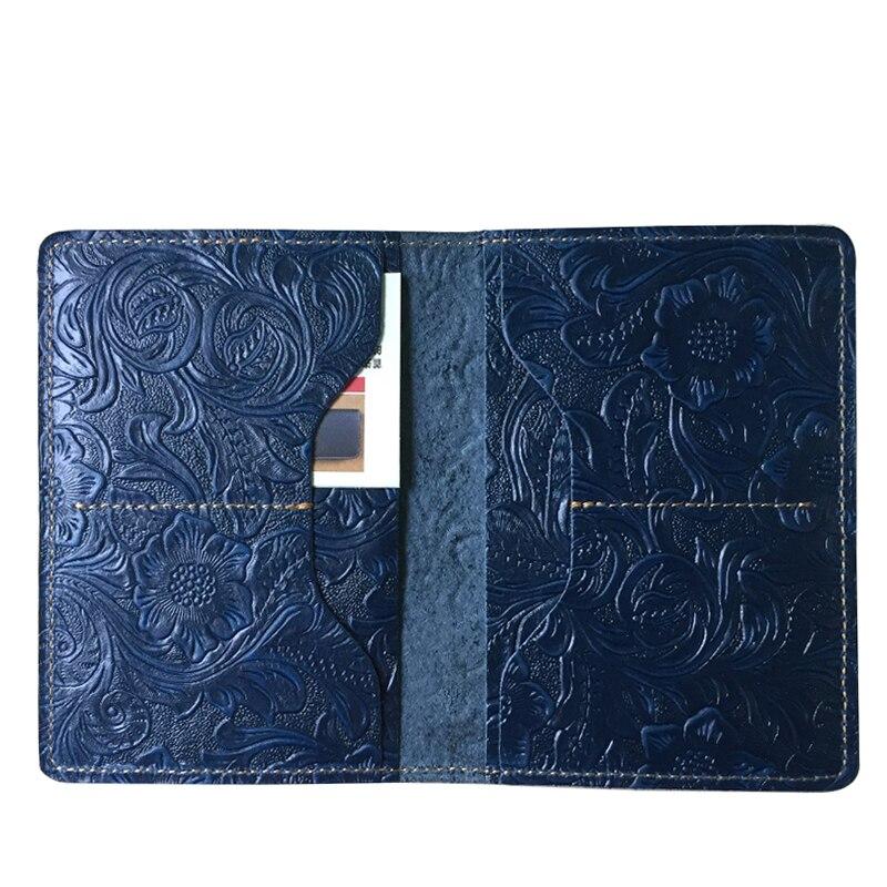WESTCREEK marque fait à la main en cuir véritable Vintage hommes passeport titulaire femmes Crazy Horse cuir Floral passeport housse