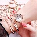 2019 Модные женские розовые с золотыми цветами и стразами Роскошные наручные часы повседневные женские кварцевые часы Relogio Feminino