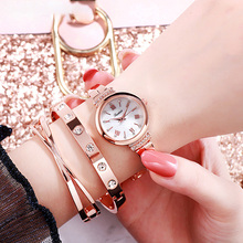 2019 Fashion Women Rose Gold Flower Rhinestone Wrist Watches Luxury Casual Female Quartz Watch Relogio Feminino