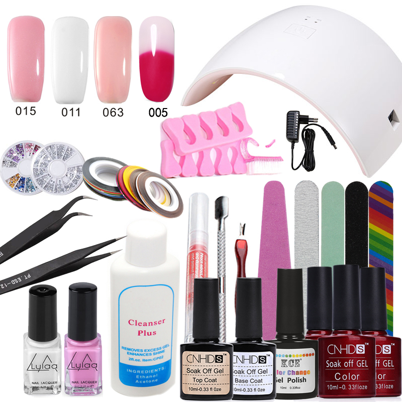 Nail Art Pro DIY Full Set Soak Off UV Gel Polish Manicure Set 24W Lamp Kit 3 colors +1 Temp Change Color&base top Set Nail Tools nail art pro diy full set soak off uv gel polish manicure set 36w curing led lamp base top coat set nail gel nail tools kit