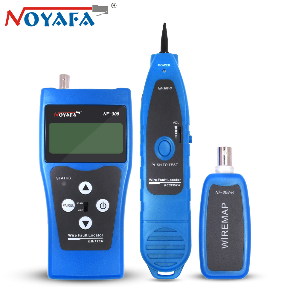 Noyafa NF-308 Monitor Network Telephone Cable Tester RJ45 RJ11 LCD BNC USB Toner Wire Detector Tracker Locator Line Finder Tool noyafa professional nf 806 network wire tracker telephone wire finder portable handheld rj45 rj11 lan cable testing tool