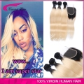 Hot Sale Malaysian straight 1b/613  hair weave 3pcs blonde virgin hair dark roots ombre human hair with closure