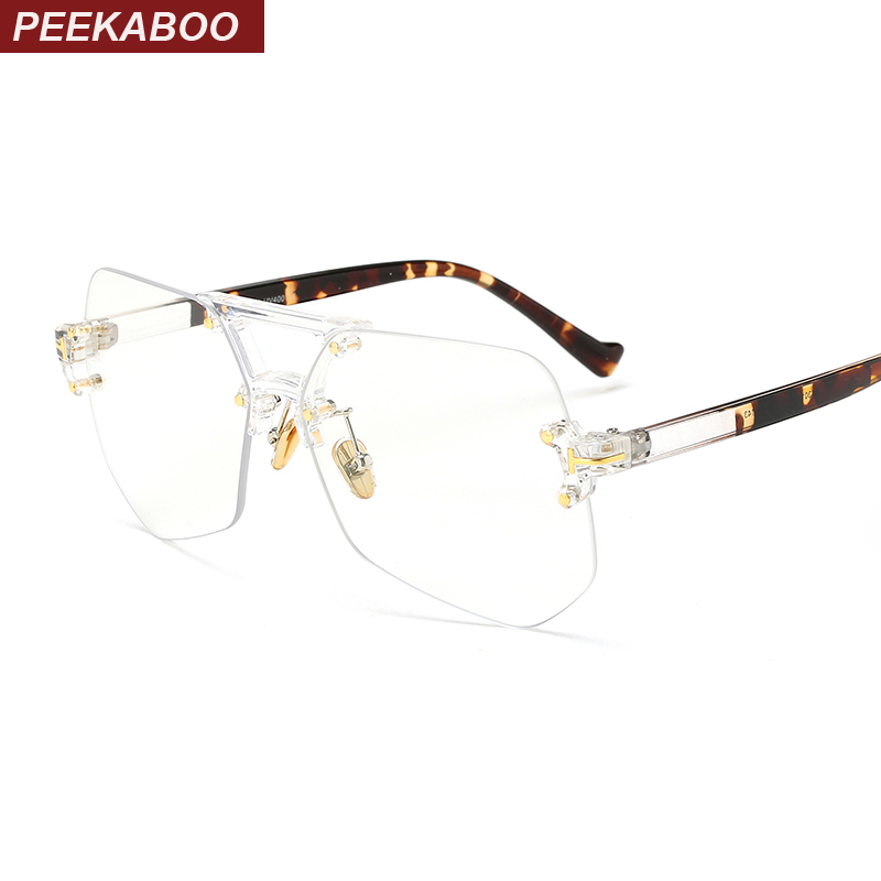 Peekaboo fashion clear transparent glasses frames for women men 2017 male spectacle frames rimless irregular