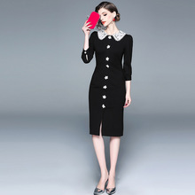 ARiby Spring Fashion Women Casual Dress 7-point Sleeve Elegant Thin Doll Collar Long Intellectuality Womens
