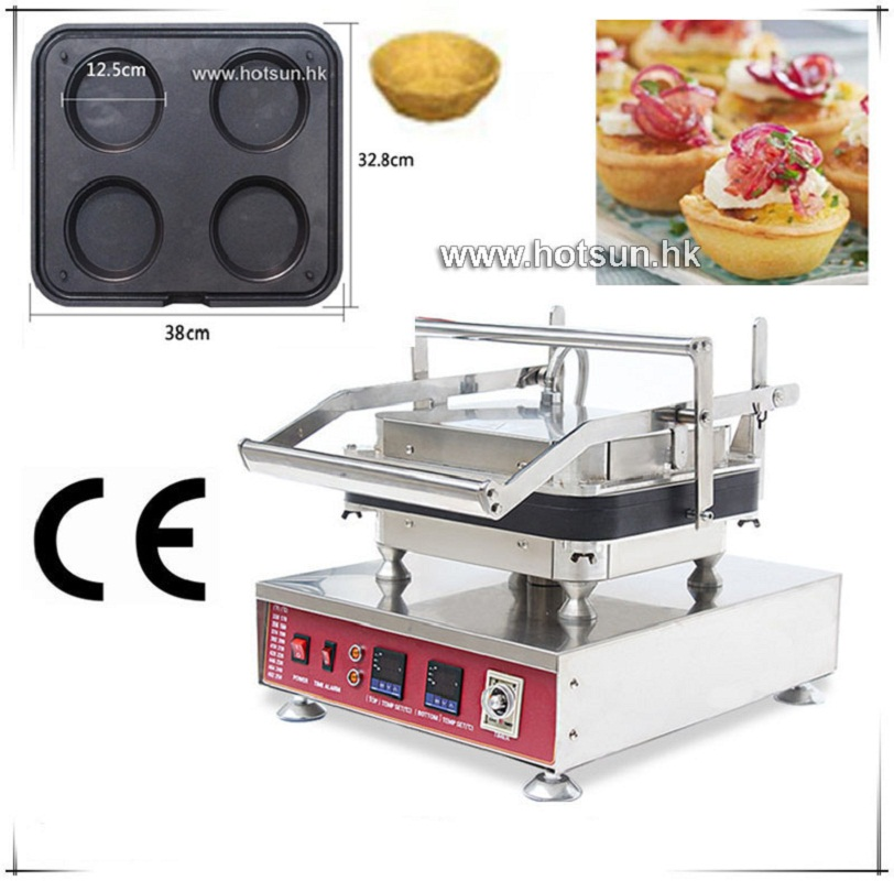 Free Shipping Heavy Duty Non-stick 110V 220V Electric 4pcs Circle Pie Fluted Egg Tart Pan Pot Maker Machine with Removable Plate