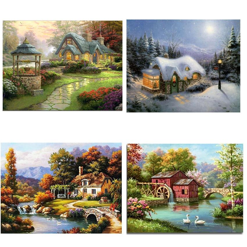 UzeQu Diamond Embroidery Cottage Scenery 5D DIY Diamond Painting - Արվեստ, արհեստ և կարի - Լուսանկար 3