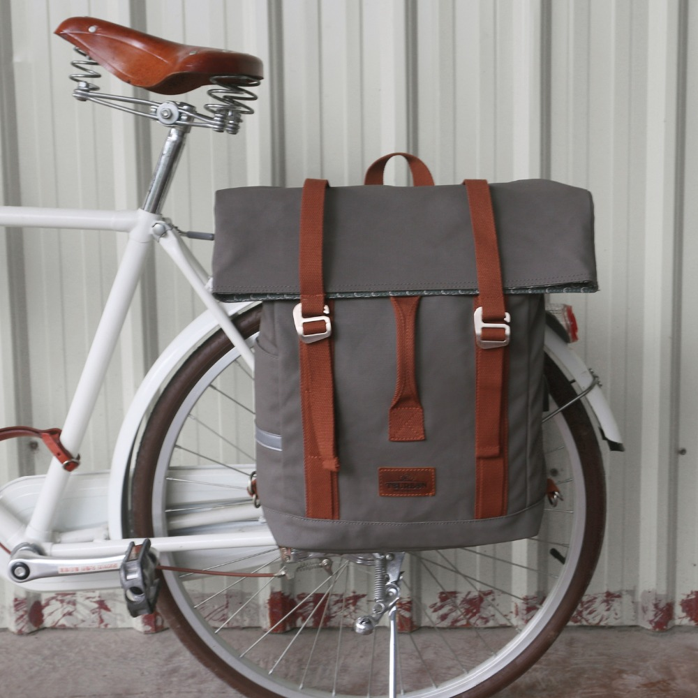 Tourbon Vintage Outdoor Bicycle Bag Pannier Seat Bags Bike Cycling Riding Shoulder Backpack Leisure Daily School Bag Waterproof