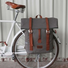 Tourbon Vintage Outdoor Bicycle Bag Pannier Seat Bags Bike Cycling Riding Shoulder Backpack Leisure Daily School Waterproof