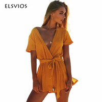 ELSVIOS Sexy Deep V Neck Knitted Autumn Jumpsuits Rompers Women Short Sleeve Sashes Overalls Casual Slim