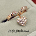 Rose Gold Plated Rhinestones Inlays Heart-shape Pendant Design Exquisite Lady Fashion Ring Wholesale