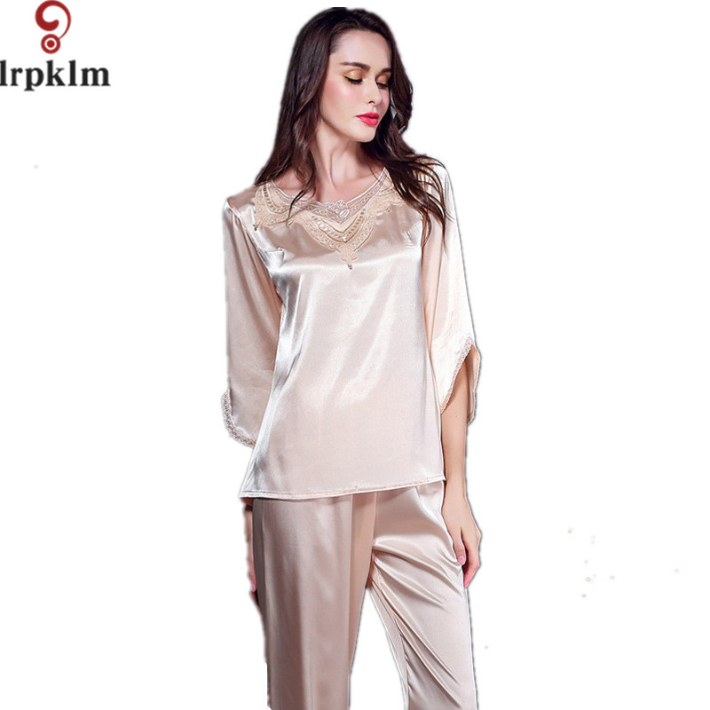 2017 New Arrival Summer Women Sleepwear Faux Silk Pajama Set Two Pieces Sexy Lace O Neck Underwear Set 2 colors SY281