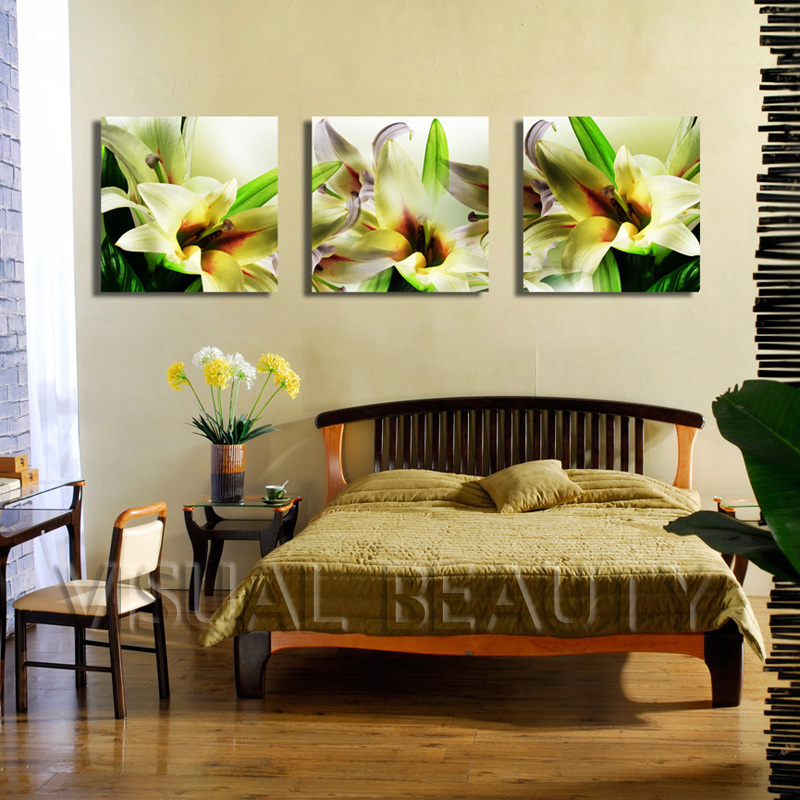 Beautiful Lily Flower Painting 3 Panel Canvas Art,Triptych wall art ...