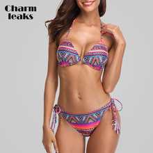 купить Charmleaks Women Bikini Set Vintage Floral Print Swimwear Swimsuit Side Bandage Bathing Suit Beachwear Sexy Bikini недорого