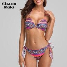 Charmleaks Women Bikini Set Vintage Floral Print Swimwear Swimsuit Side Bandage Bathing Suit Beachwear Sexy Bikini