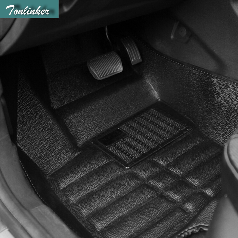 Tonlinker 3 PCS DIY Car styling PU leather full surround special food mat cover case stickers for Ford Fiesta 2013 accessories tonlinker 1 pcs car modification armrest box storage chromium styling gear position stickers for ford focus fiesta ecosport