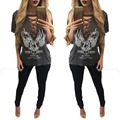 Echoine Hollow Out V Neck T shit Sexy Women Summer Gray Short Sleeve Lace Up Loose Shirts Casual Letter Print Tee Tops Plus Size