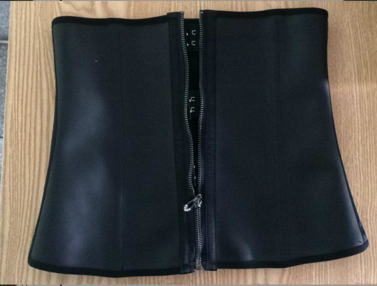 Waist Trainer   Corsets   100% Latex Waist Cincher 9 steel bone Front Zipper   Corset   With Hooks Gaine Sheath Shapewear Black   Corset