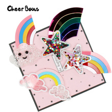 Rainbow Acrylic Accessories Liquid Quicksand Stars Clouds Filling Sequins Appliques Phone Decor DIY Hair Clips Material 1pc