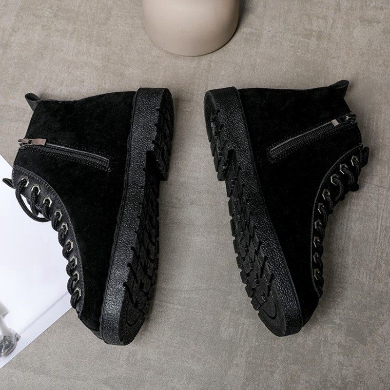 COOTELILI Winter Shoes Women Rubber Ankle Boots For Women Black Basic Fashion Lace Up Plush Boots Female Women Shoes Flat (9)
