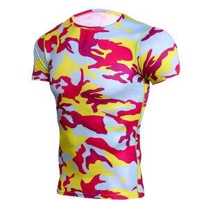 Камуфляжная футболка с коротким рукавом, Мужская компрессионная спортивная рубашка для бега, Мужская сухая дышащая Rashgard, мужские спортивны...