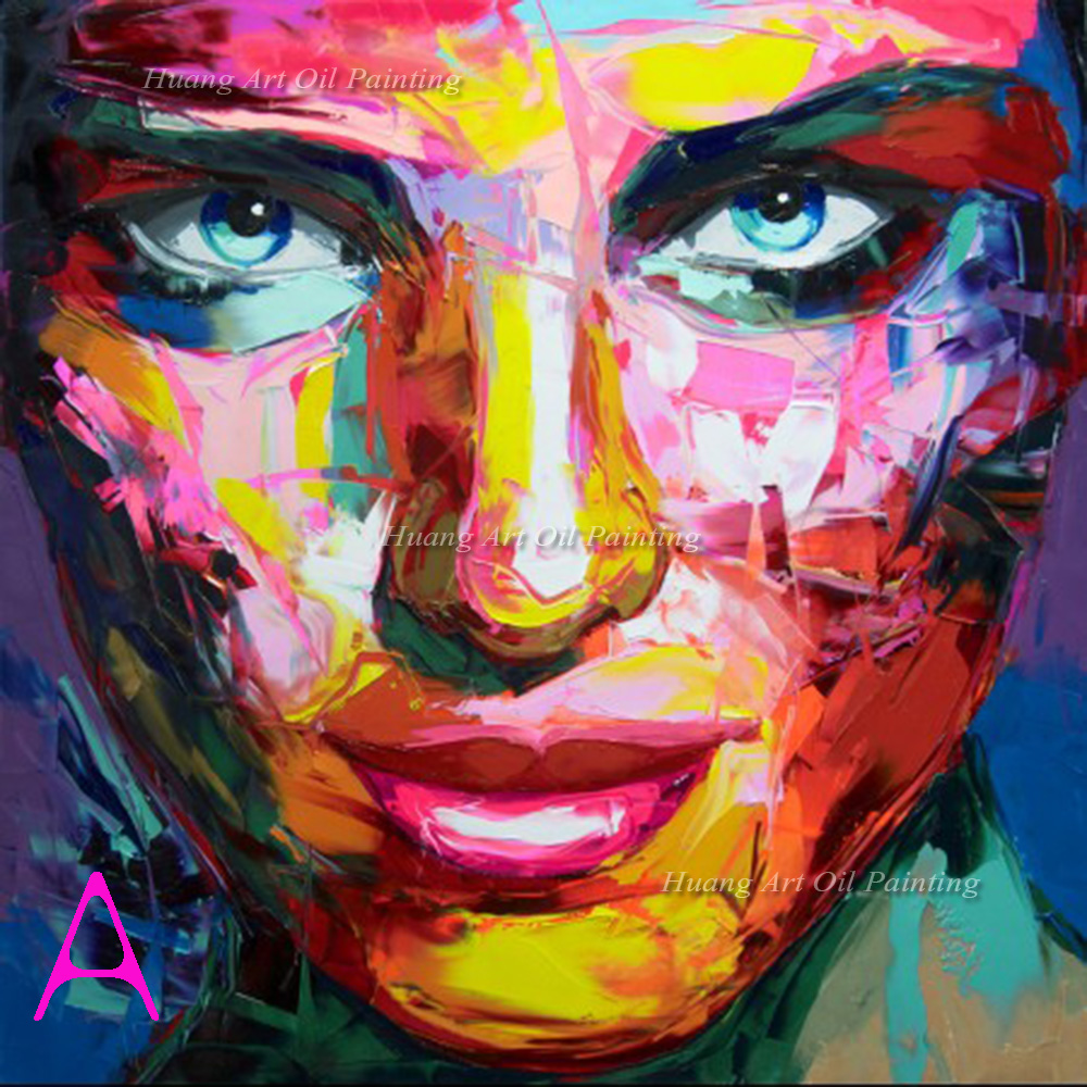 Nielly Francoise Art Work Hand painted Oil Wall Moonlight Face Art Women Home Decoration Modern Abstract Oil Painting on Canvas
