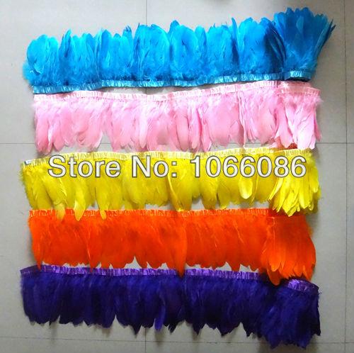 Geen verzendkosten! Geassorteerde 5 kleuren zwanengans eend veer trim - Kunsten, ambachten en naaien