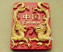 Китай Золотой Дракон Туристические Путешествия Сувенир 3D Смолы Декоративный Магнит На Холодильник Ремесло ИДЕЯ ПОДАРКА