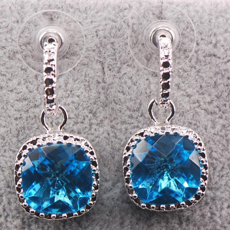 New Simulated Aquamarine Woman 925 Sterling Silver Crystal Earrings TE454
